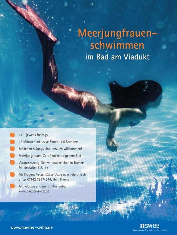 Bild:Meerjungfrauenschwimmen im Bad am Viadukt